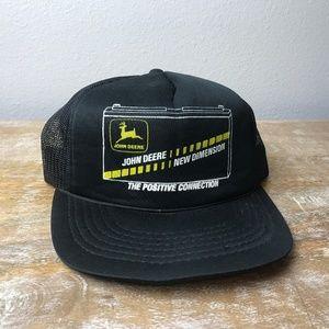 Vintage John Deere Black Snapback Trucker Dad Hat